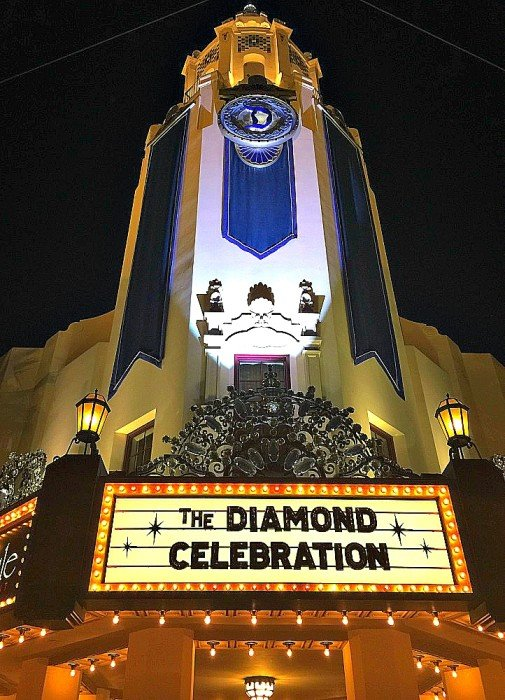 Carthay Circle at Disney California Adventure Park dolled up for the Disneyland Diamond Celebration