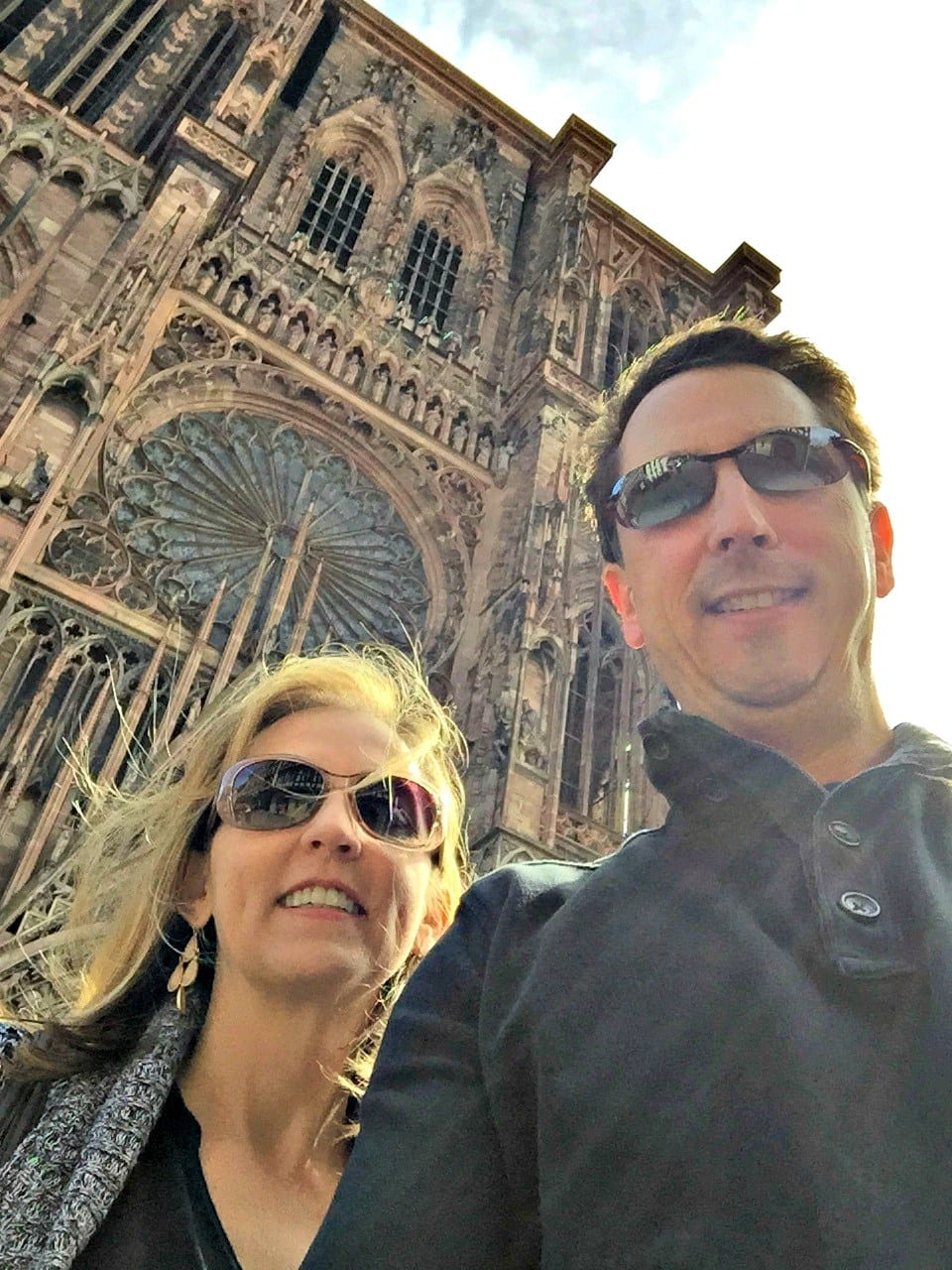 Standing in front of Cathédrale de Notre Dame of Strasbourg, the highest medieval building in Europe