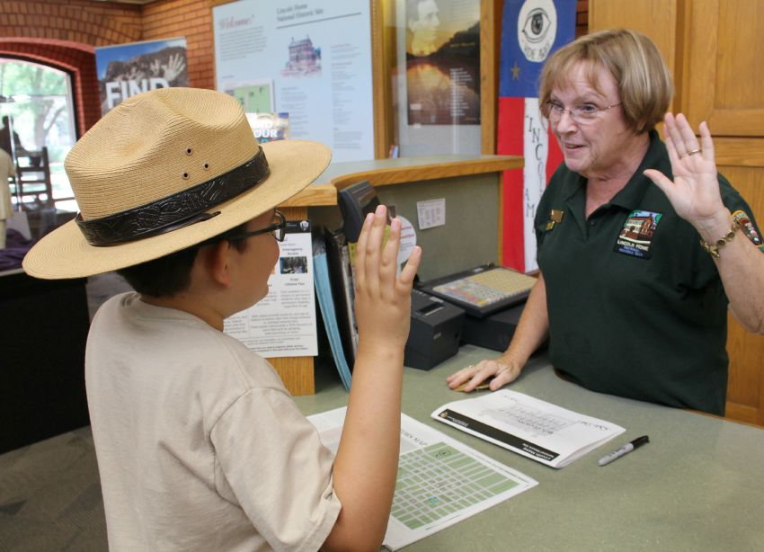 "Kids who earn their Junior Ranger badges will have the chance to be ""sworn in"" by a real park ranger Lincoln Home National Historic Site in Springfield, Illinois (Photo credit: Pilar Clark)"