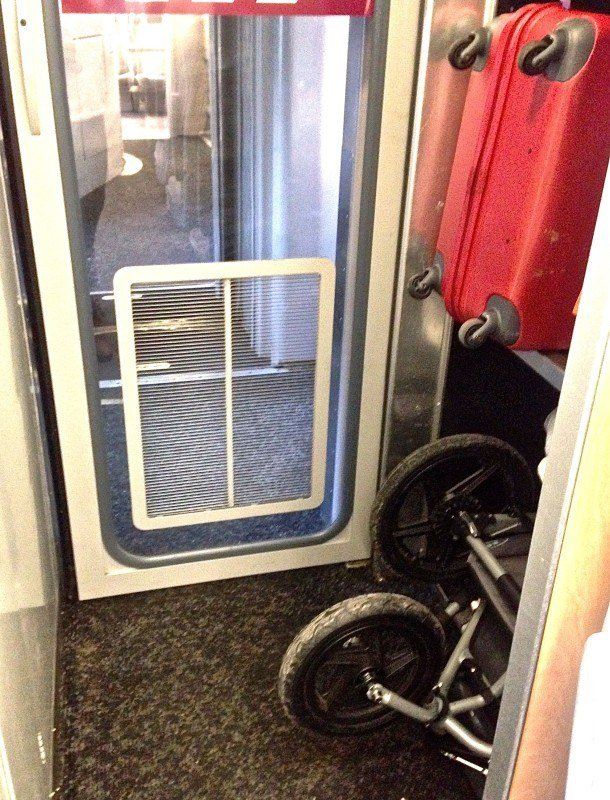 plenty of space for strollers and baggage on trains in Europe