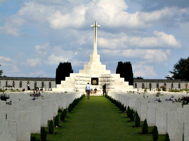 The sombre and moving cemetery at Tyne Cot, Flanders, Belgium