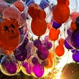 Festive Halloween-themed balloons at Disneyland