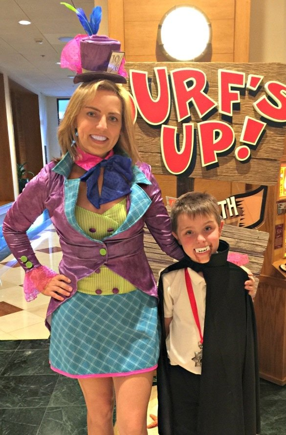 All dressed up as The Mad Hatter and a happy vampire at Disney's PCH Grill