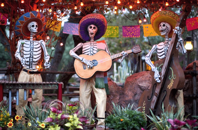 Day of the Dead skeletons near Rancho del Zocalo restaurant in Frontier Land during Halloween Time at Disneyland