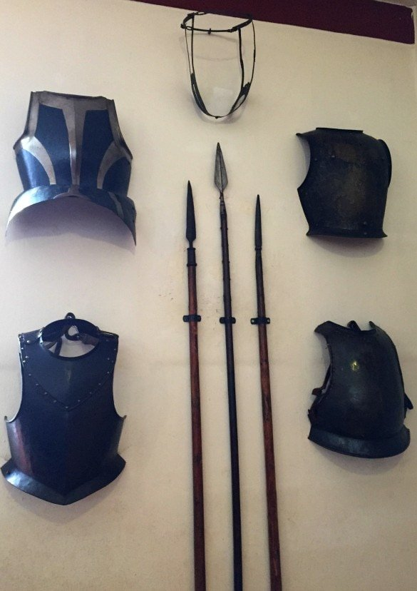 A chastity belt, breastplates and weapons at Marksburg Castle