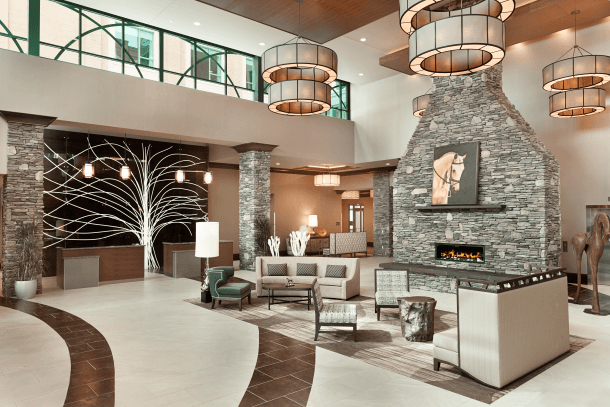 The welcoming decor at Embassy Suites Saratoga Springs