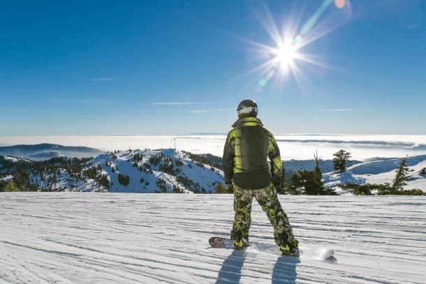 A snowboarder at Bogus Basin Resort
