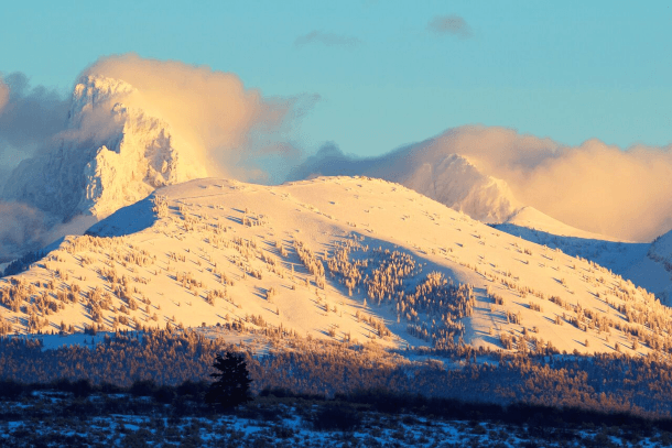 The beauty of a snow-covered mountain
