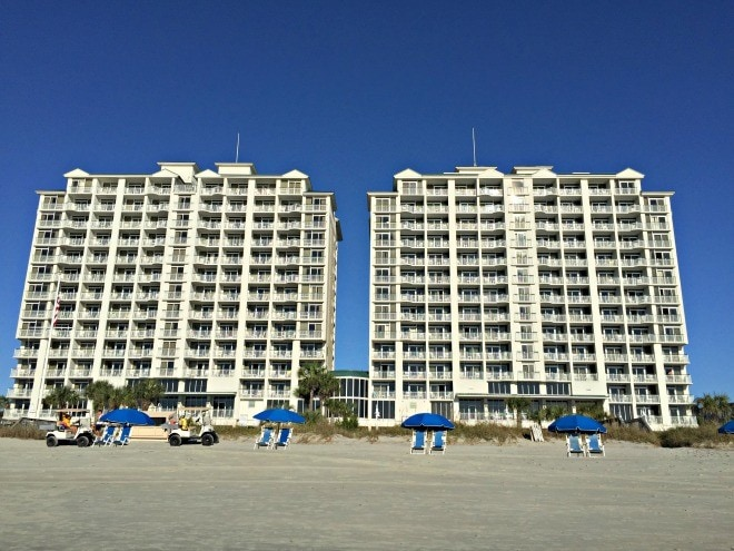 The beach is at your doorstep at the oceanfront Hampton Inn & Suites Myrtle Beach