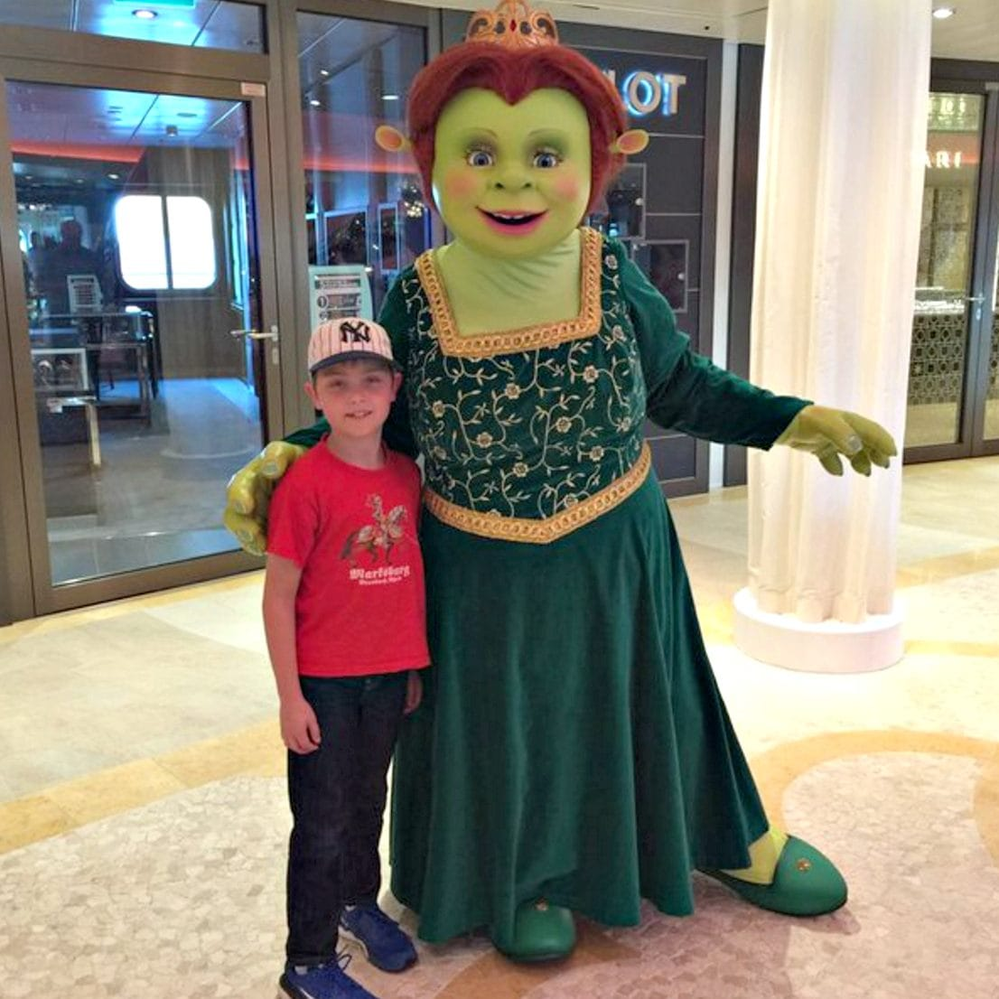 While aboard Anthem, you just might run into Dreamworks characters, like Fiona from the Shrek movies ~ Royal Caribbean Anthem of the Seas with Kids
