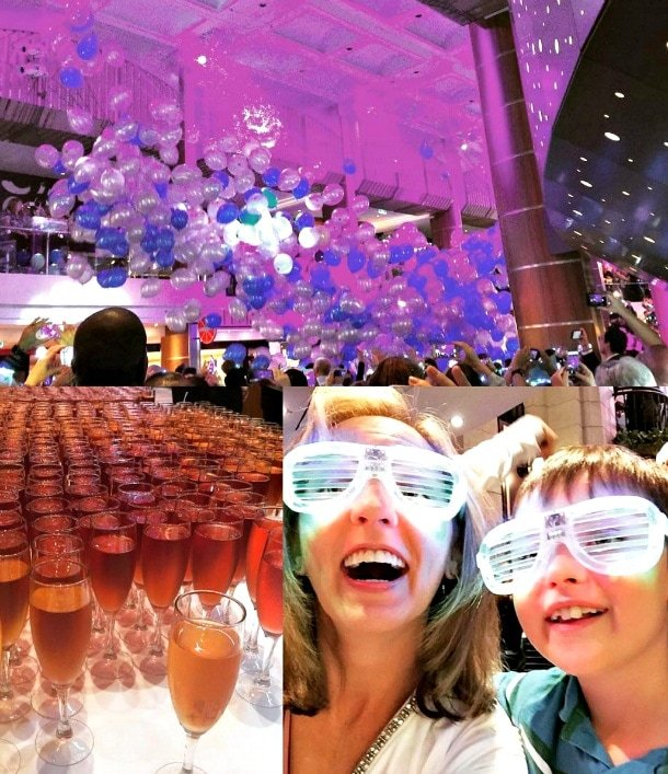 Anthem Sail Away Party fun with a balloon drop, champagne toast and glowing glasses ~ Royal Caribbean Anthem of the Seas with Kids