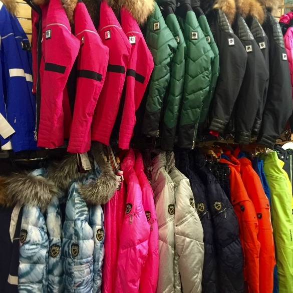 Colorful ski gear at Bahnhof Sport in Park City