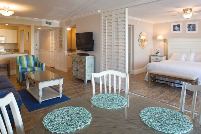 Escape the rain in a spacious suite at Sundial Beach Resort & Spa