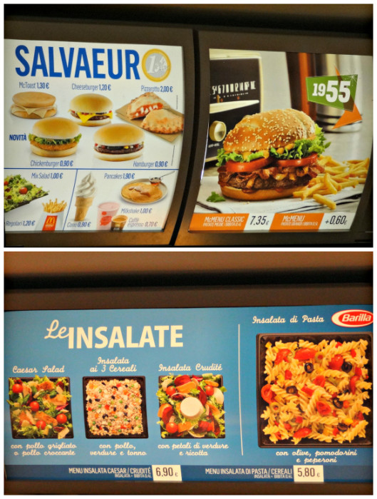 Snapshots of a McDonald's Menu in Italy ~ 5 Reasons to Visit McDonald's Around the World with Kids