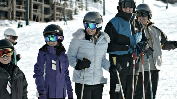 Family ski lesson at Deer Valley Mountain Resort in Park City, Utah