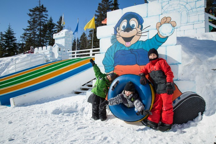 Valcartier Village, where children can tube, skate and play in a winter playground ~ Quebec City Winter Fun for Families