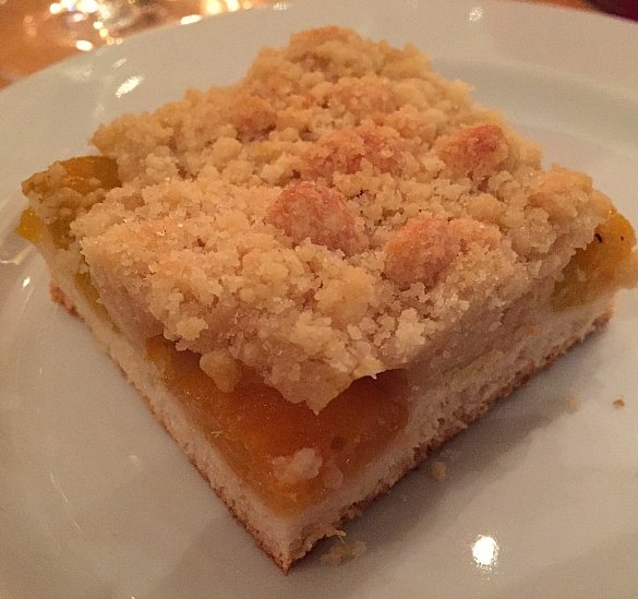 Apricot cake at Rudesheimer Schloss in Rudesheim am Rhein, Germany