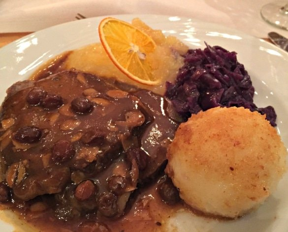 A hearty German dinner at Rudesheimer Schloss restaurant in Rudesheim am Rhein