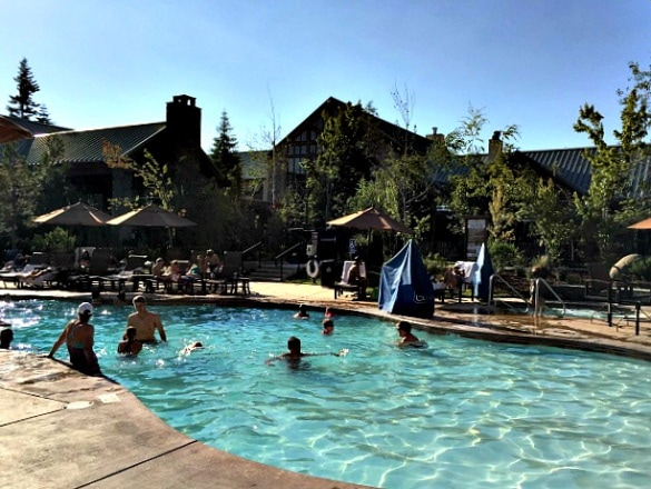 A refreshing dip at Tenaya Lodge after a hot summer day visiting Yosemite National Park