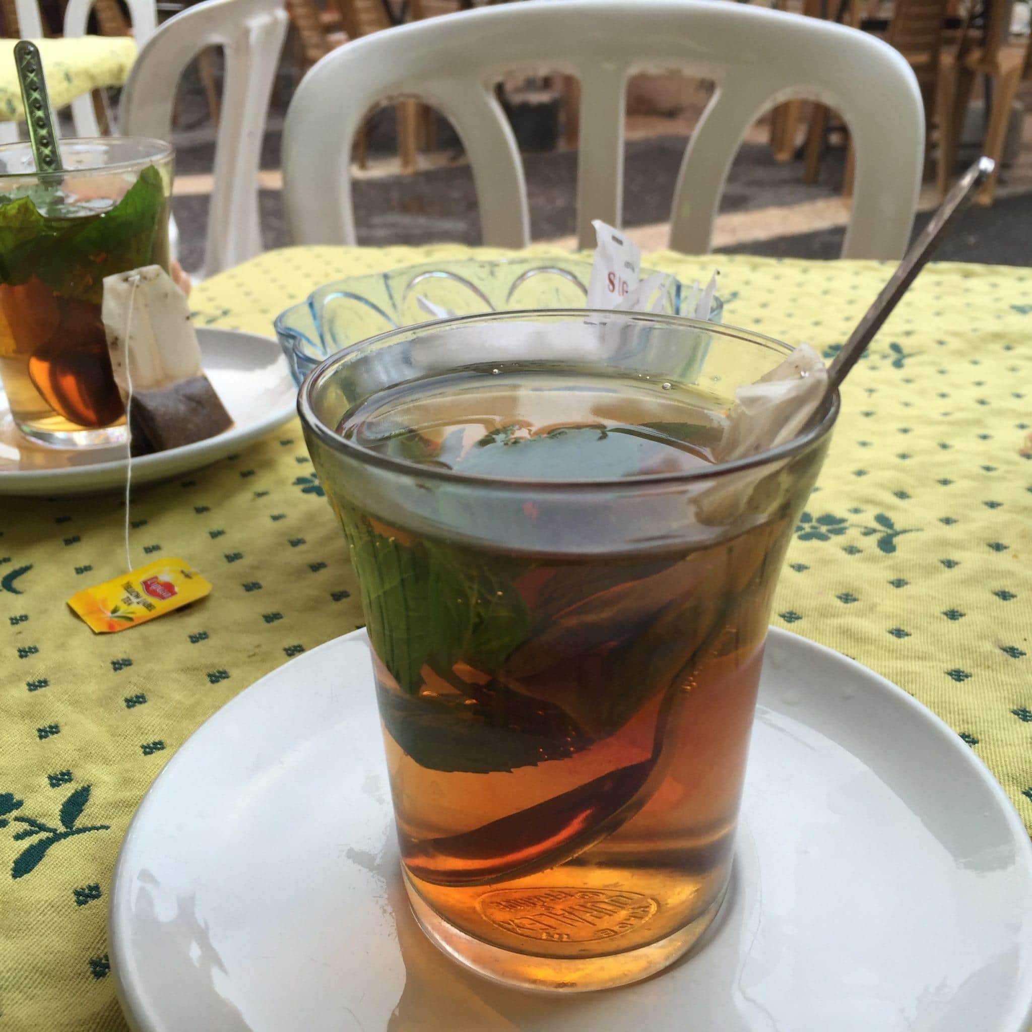 Tea with fresh mint leaves in the Arab Souk in Jerusalem