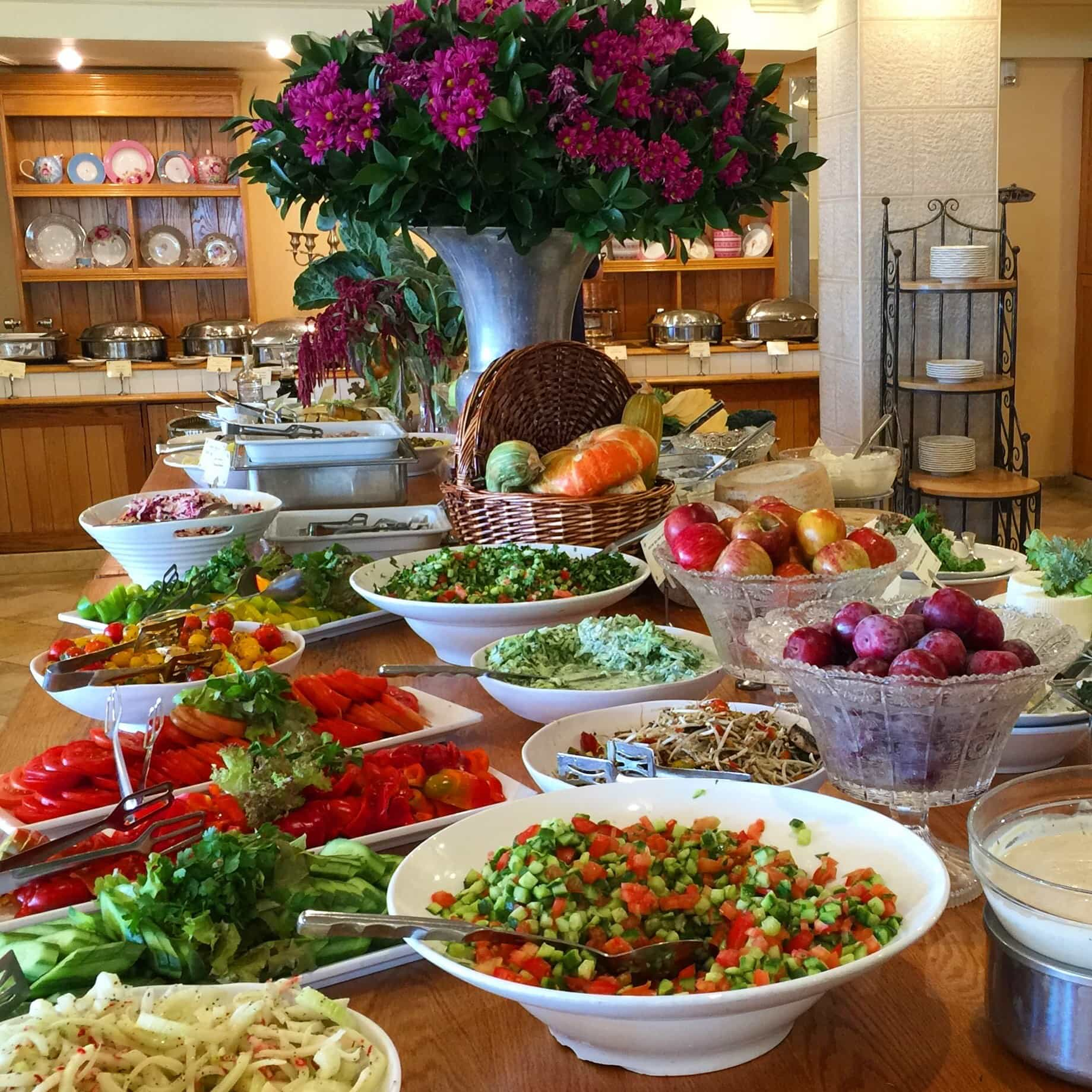 Gorgeous salads at the breakfast buffet at Mitzpe Hayamim, a spa hotel with its own organic farm in Rosh Pinna, Israel