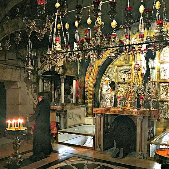 The Altar of the Crucifixion at the Church of the Holy Sepulchre