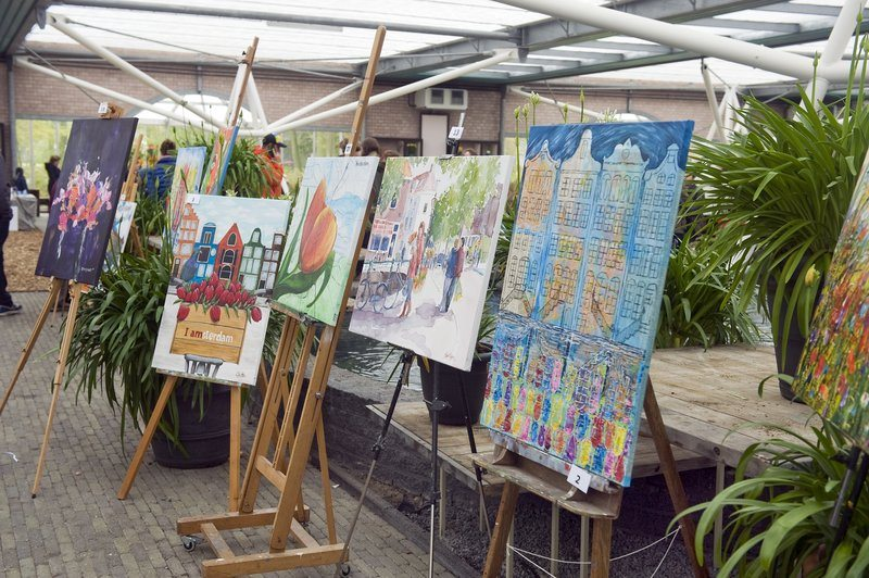 An art show at the Keukenhof Gardens