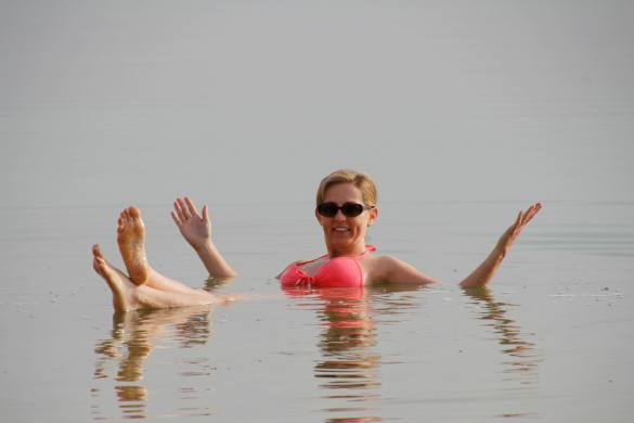Floating in the Dead Sea in Israel