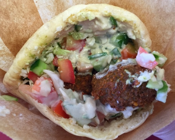 Falafel lunch from Falafel with a Complex in the Carmel Shuk in Tel Aviv
