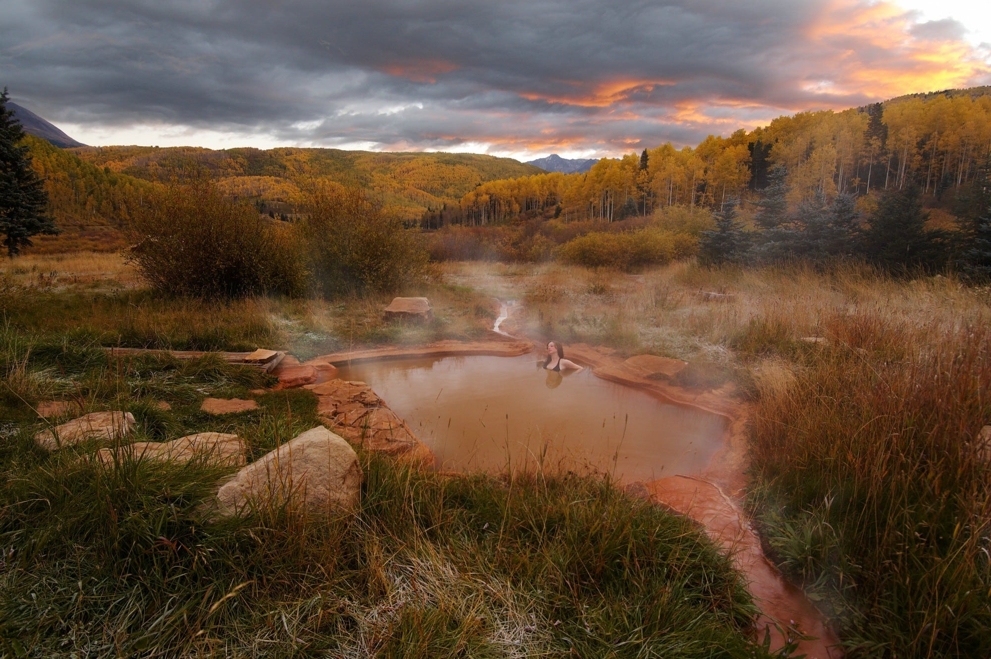 Outdoor soak at the bathhouse, Dunton Hot Springs, Colorado ~ 10 Incredible Hot Springs for Families