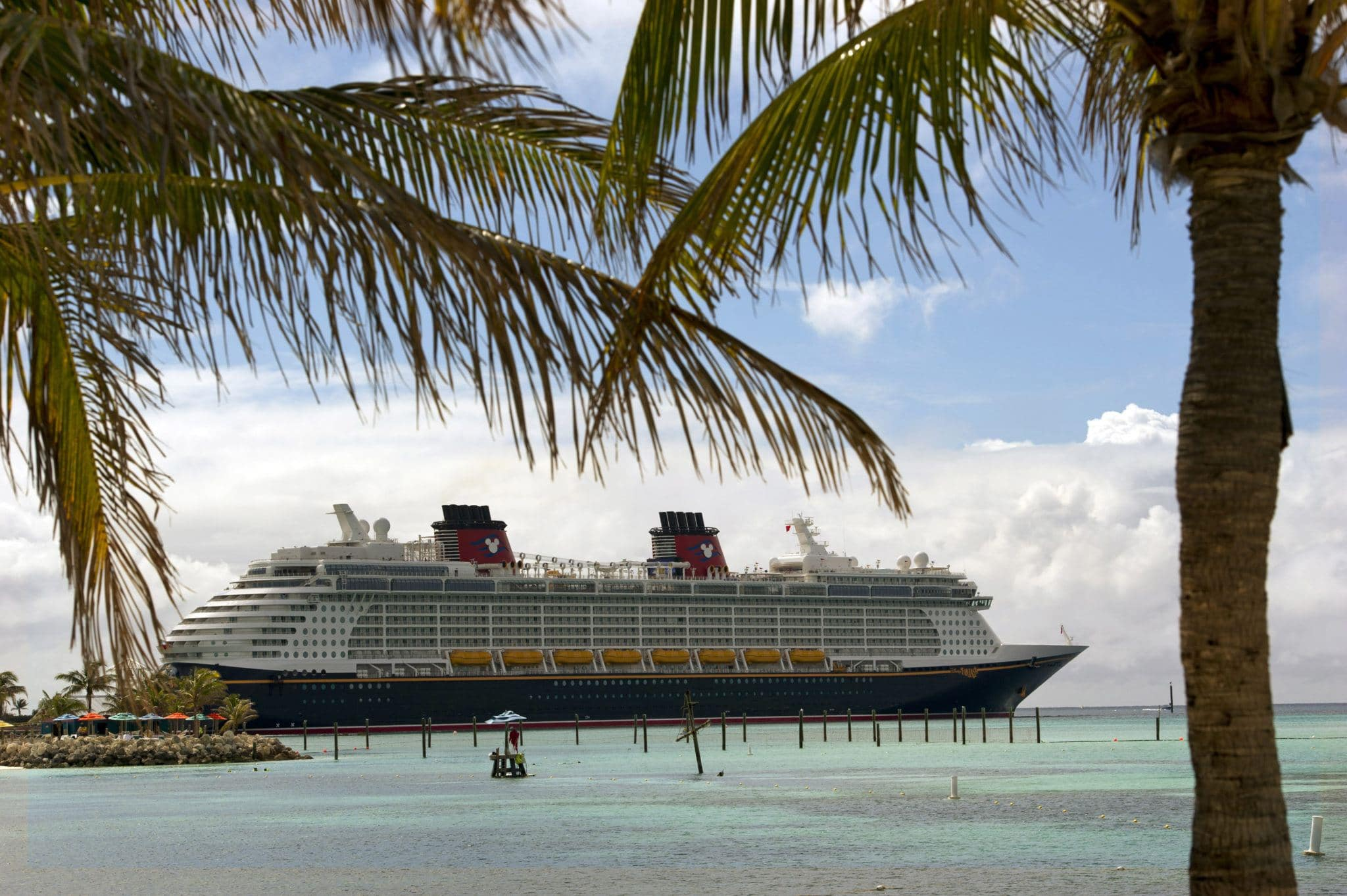 Disney Fantasy docked at Castaway Cay, a private island owned by Disney in the Bahamas