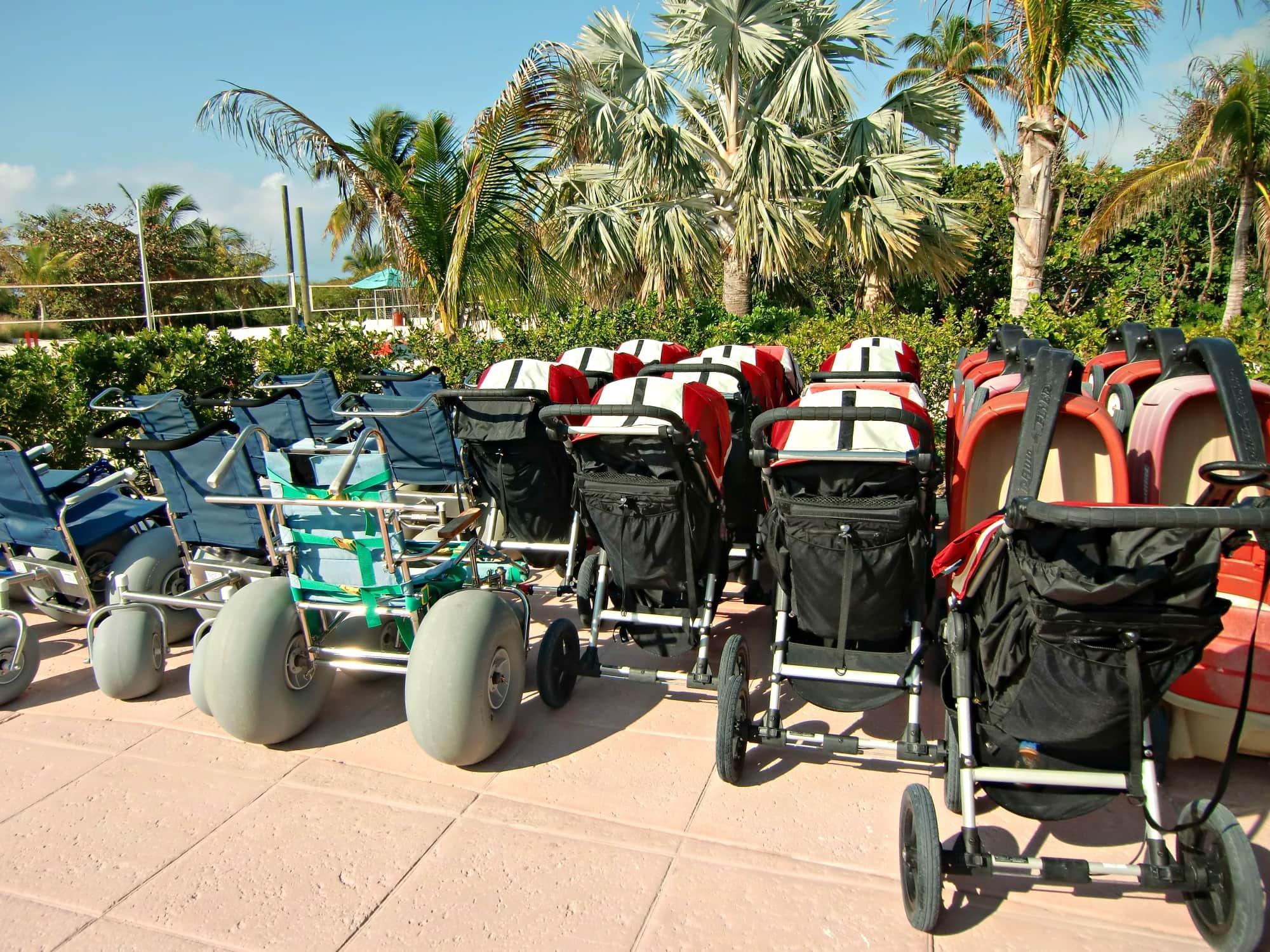 Borrow a stroller or wagon on Castaway Cay