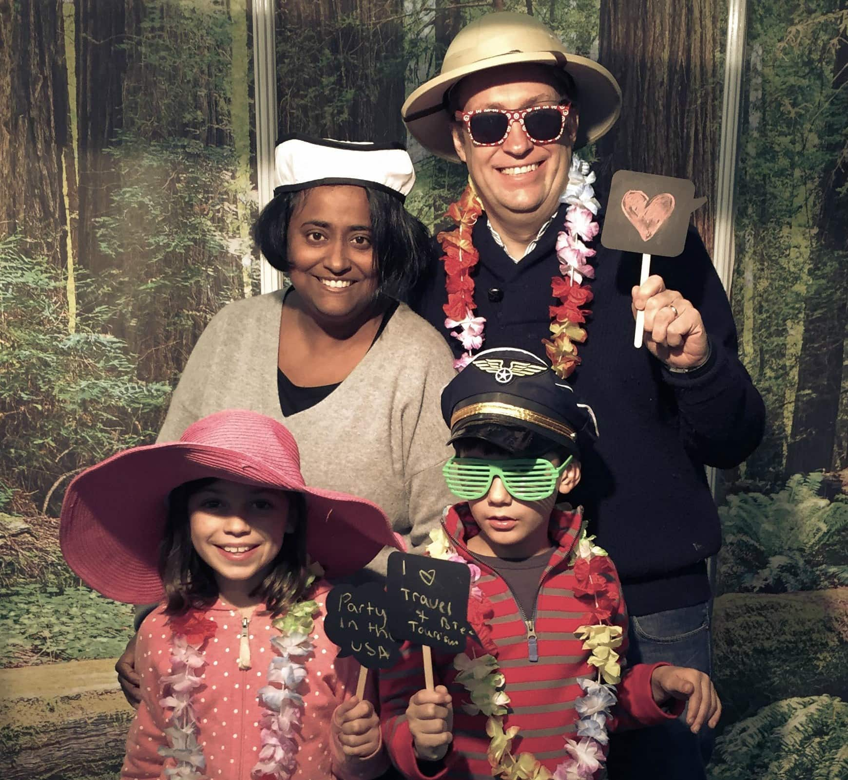 The Expat Travel Mama Shobha George with her husband and two kids ~ Get to Know the Travel Mamas At Home Bloggers