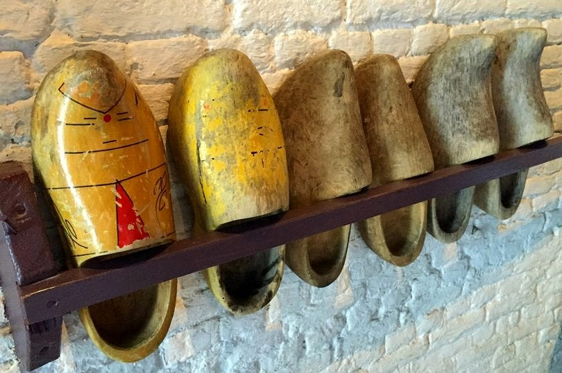 Wooden shoes on display at Kinderdijk World Heritage Site