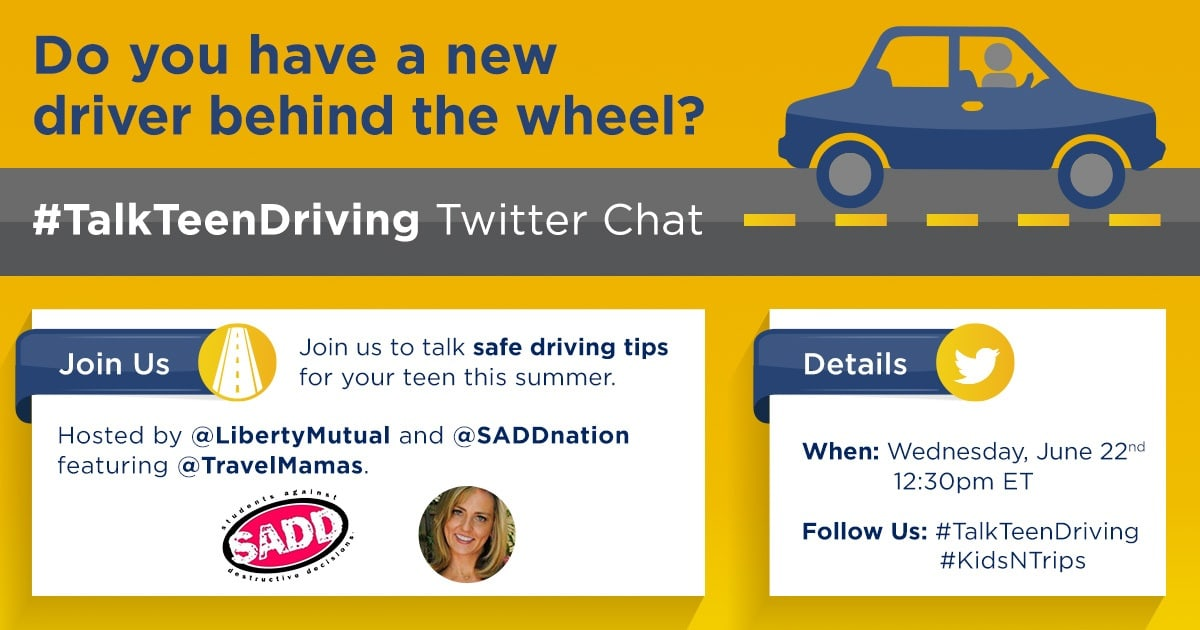#KidsNTrips Teen Driving Twitter Party with Liberty Mutual & Travel Mamas at 12:30 pm Eastern. Win one of four $100 Visa gift cards!
