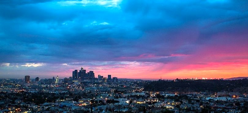 Los Angeles skyline at sunset