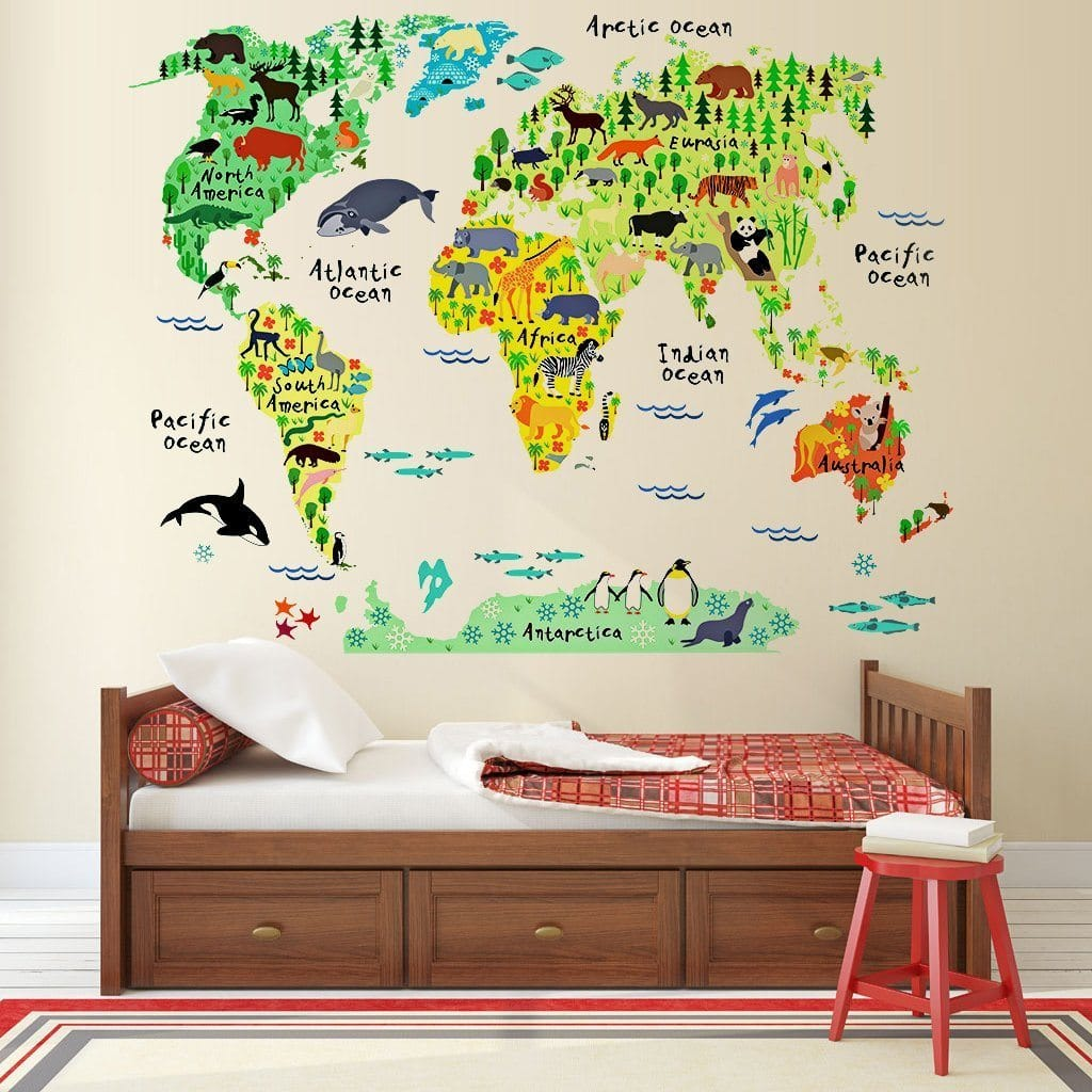 Encourage travel dreams with this peel & stick animal world map by Eveshine