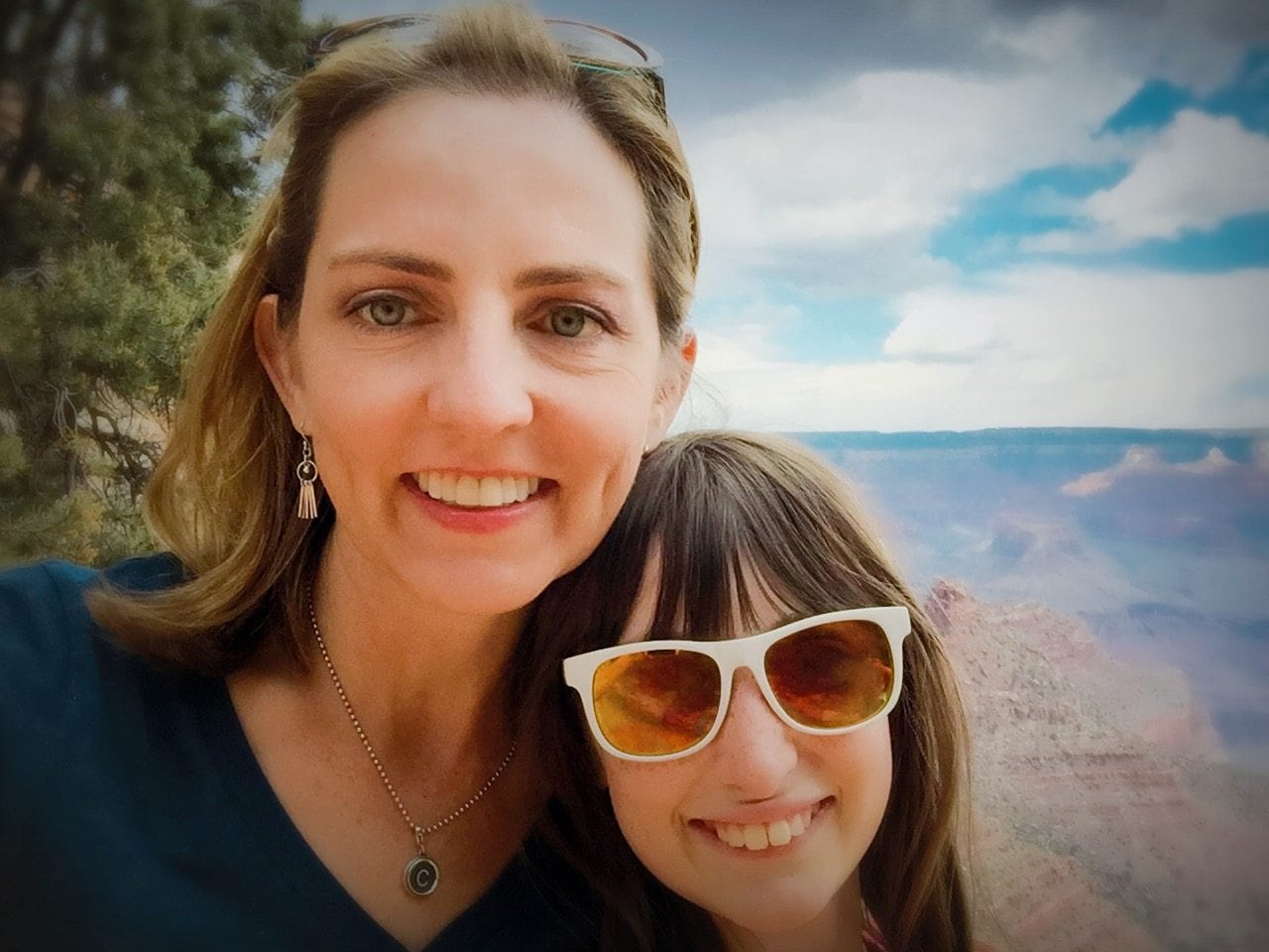 A Grand Canyon selfie during a brief hike with my daughter on the Bright Angel Trail