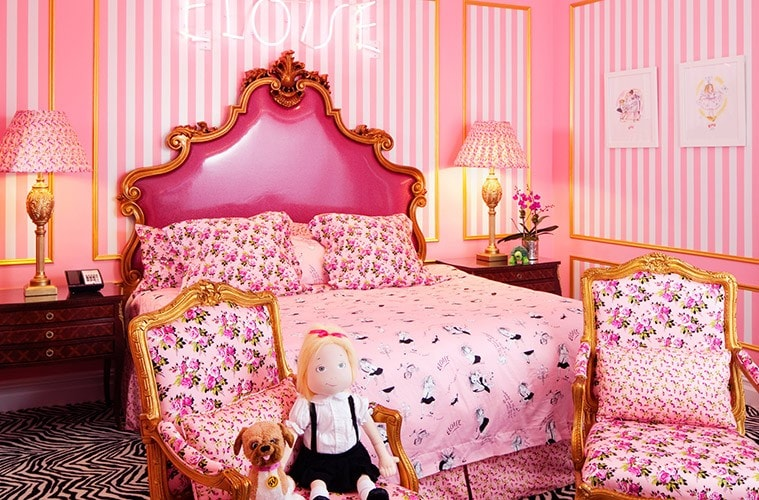 Five Over-The-Top Suites for Mini Movie Lovers. The Eloise Suite at New York's Plaza Hotel features decor by Betsey Johnson.