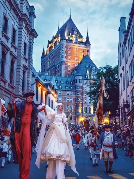 Parade in front of the Château in Old Québec ~ 5 Destinations that Feel Like Europe in North America