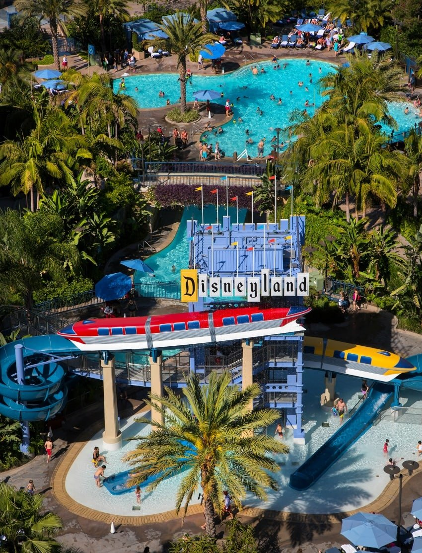 Monorail waterslides at the Disneyland Hotel ~ 10 Best Hotel Pools for Kids in the USA