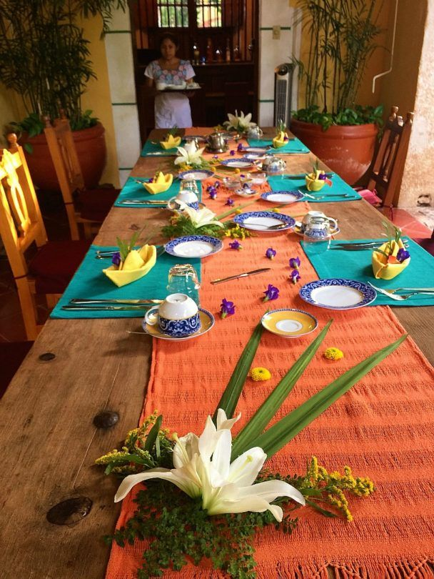 A beautifully laid breakfast at Hacienda Petac ~ Yucatan Hacienda Hotels