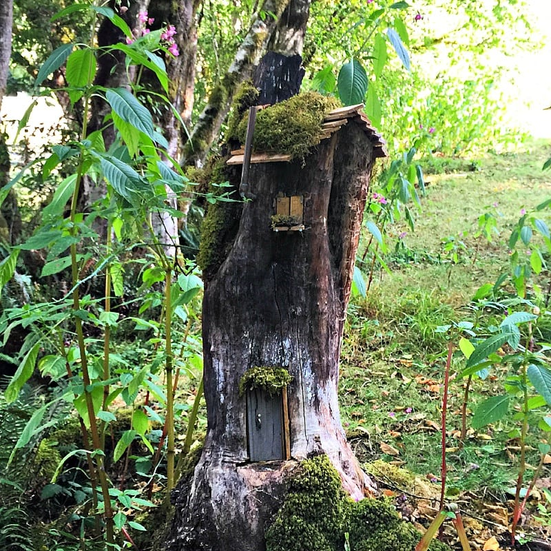 One of five fairy houses at Leaping Lamb Farm