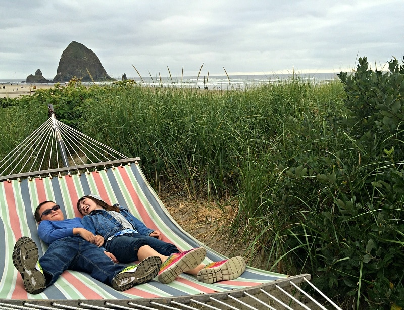 "My kids loved finding this ""secret"" hammock hidden among the beach grass at Surfsand Resort ~ 10 Things You Must Do in Oregon's Cannon Beach with Kids"