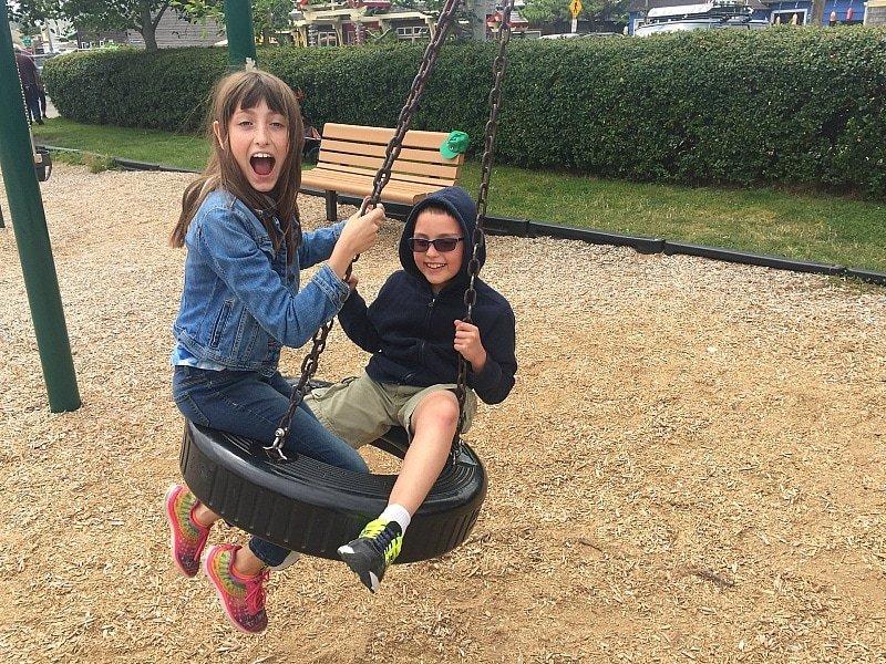 Having a swinging good time at City Park in downtown Cannon Beach ~ 10 Things You Must Do in Oregon's Cannon Beach with Kids