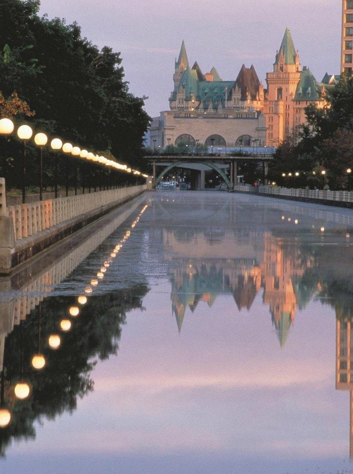 """View of the """"haunted"""" Fairmont Chateau Laurier from the Rideau Canal ~ Fun Things to Do in Ottawa in Fall with Kids"""