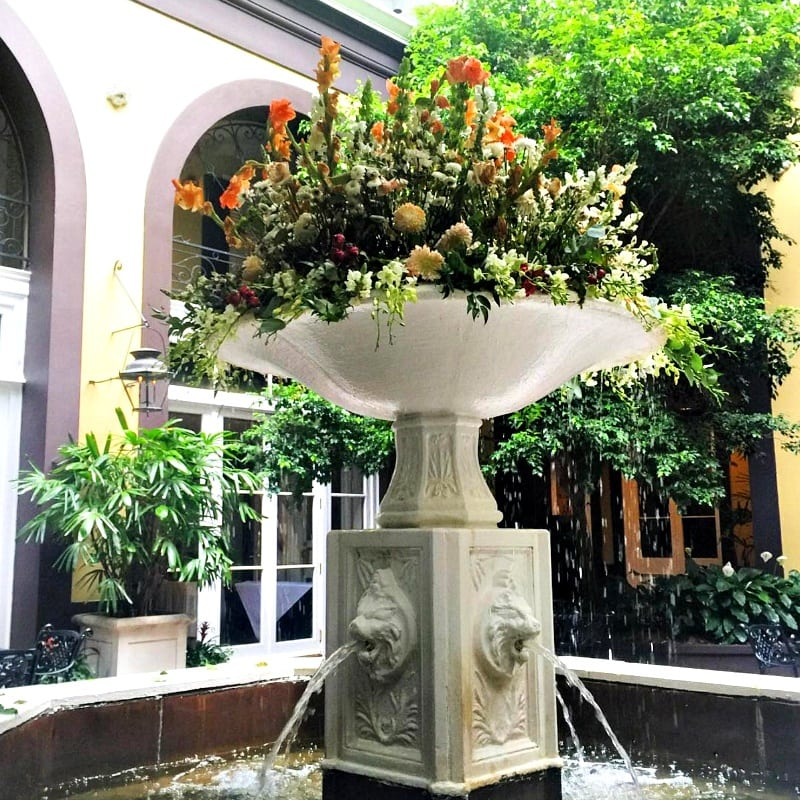 Beautiful courtyard fountain at Hotel Mazarin ~ 10 Ways to Find Romance in New Orleans