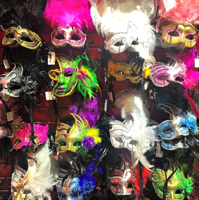 Mardi Gras masks for sale on Bourbon Street ~ 10 Ways to Find Romance in New Orleans