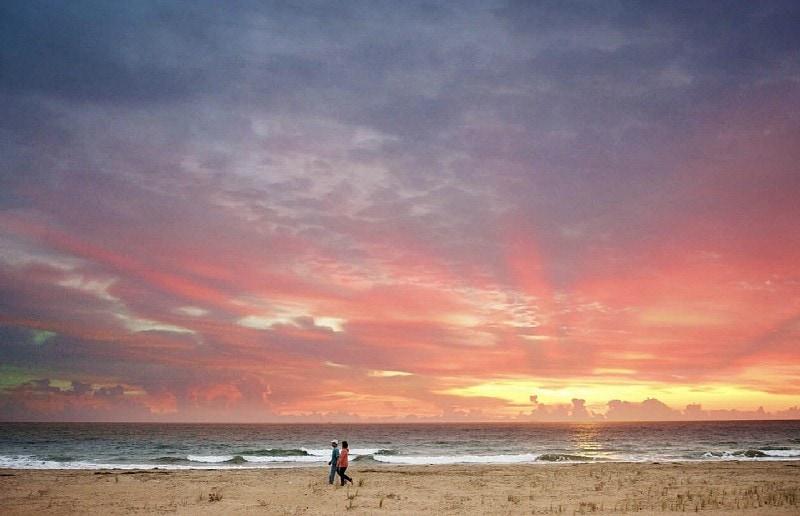 A sunset stroll along Sunbridge Beach ~ Virginia Beach Romantic Getaway