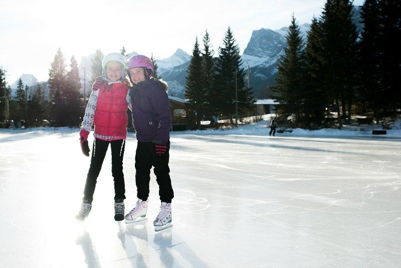 Ice skating in Canmore, Canada near Banff ~ Canmore with Kids